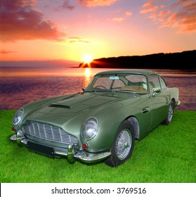 DB5 Vintage Aston Martin from the 1900's isolated on white with embedded clipping path (Former James Bond Car)