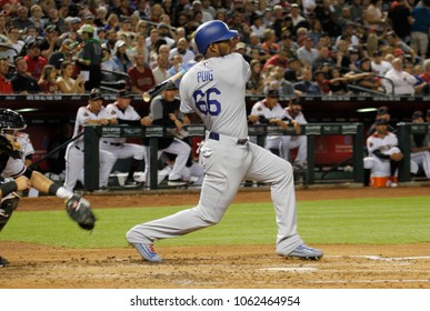 D-Backs- Yasiel Puig outfielder for the Los Angeles Dodgers at Chase Field in Phoenix, Arizona USA April 2,2018.