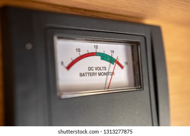 DC Volts indicator battery monitor in Australian camper van indicating full charge