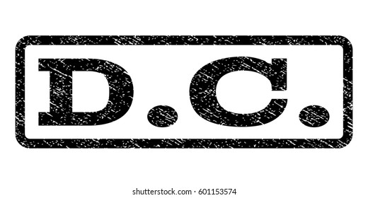 D.C. watermark stamp. Text caption inside rounded rectangle frame with grunge design style. Rubber seal stamp with dirty texture. Raster black ink imprint on a white background.