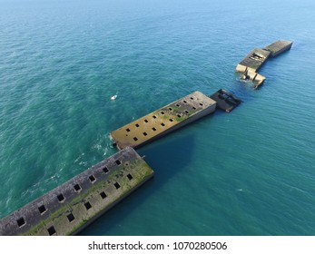 D-Day, Normandy- World War 2 British Vessels in Mulberry Harbour, Arromanches, France
