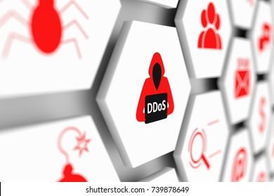 DDoS concept cell blurred background 3d illustration