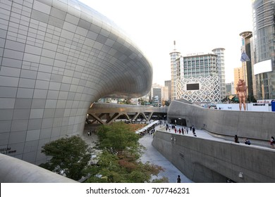 DDP(Dongdaemun Design Plaza) in SEOUL, KOREA-Sep. 2, 2017: It is a complex cultural space located near the Dongdaemun Gate. It is one of the main exhibition halls for Seoul City Architecture Biennale.