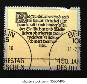 DDR - CIRCA 1970s: A stamp printed in DDR (East Germany) devoted 450 anniversary of German farmers revolt show The description of history of revolt, one stamp from series, circa 1970s.