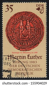 DDR - CIRCA 1982: A stamp printed in DDR  shows City �¢??�¢??seal of Wittenberg, circa 1982