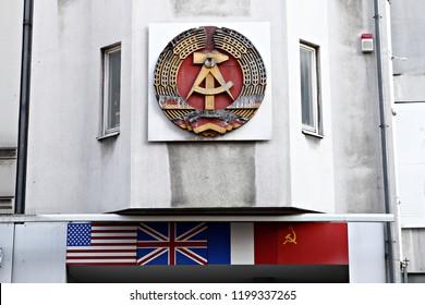 DDR shield in a building of the former Berlin under Soviet occupation in Berlin, Germany on Jan. 21, 2017