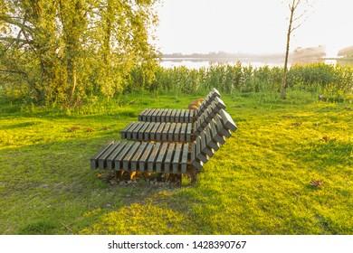 De Bijlen, Alphen aan den Rijn, Zuid Holland, The Netherlands, June 17, 2019: Sustainable couches made of recycled plastic in freely accessible Zegersloot recreational area along the Zegerplas