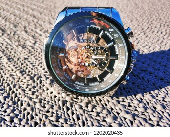 De Bilt, The Netherlands - October 12th 2018: Close-up of a cheap Chinese watch ordered from Aliexpress.