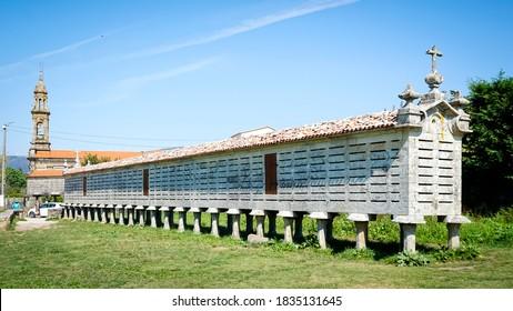 Hórreo de Carnota in a rural area of Galicia