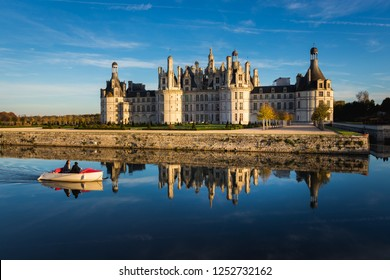 Château de Chambourg castle in Loir-et-Cher, France at sunset, view over the river