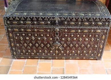 Château de Chaumont, Loire valley, France - April 27, 2018: Ancient chest within the château