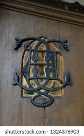 Château de Chaumont, Loire valley, France - April 27, 2018: Beautiful forged decor element on the door in the Château