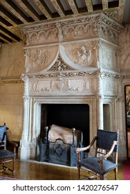 Château de Chaumont, Loire valley, France - April 27, 2018: The fireplace in the dining room of the castle.