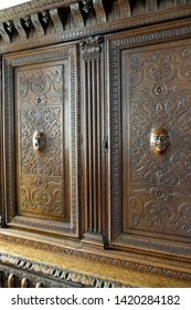 Château de Chaumont, Loire valley, France - April 27, 2018: Antiquarian wooden wardrobe with magnificent wood carving.