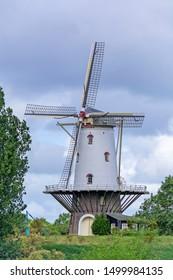 De Coe corn windmill in Veere, Zeeland, Netherlands, used for milling corn, built 1909