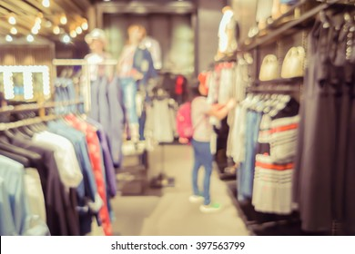 De focused background Sports fashion clothing store in Inter Sport store,interior with showcases and shelves in a department store with bokeh, city shopping mall lights ,vintage color with copyspace