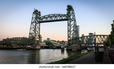 De Hef Vertical-lift Bridge at sunset in Rotterdam Netherlands