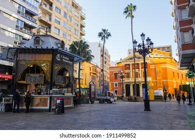 Castellón de la Plana, Valencian Community, Spain (Costa del Azahar) - January 2021. Main theatre (Teatro Principal) and the Antiga Valenciana food stand.