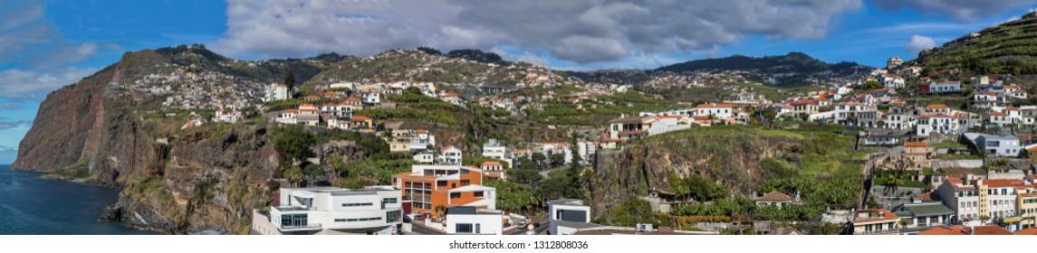 CÂMARA de LOBOS, MADEIRA - JANUARY 23, 2019: Panoramic view of Câmara de Lobos and Cabo Girão, Madeira