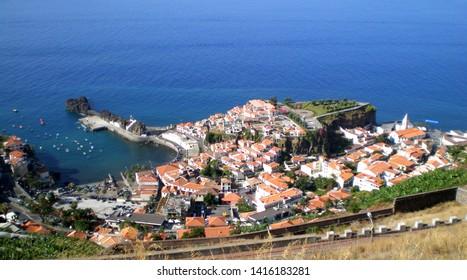 Câmara de Lobos, Madeira/Portugal; 9 13 2008: Nice view from above of the coastal city of Camara de Lobos in the Madeira Island, Portugal.