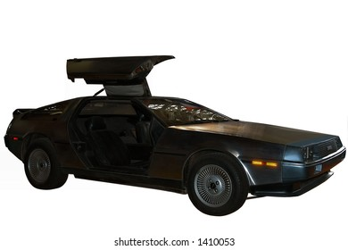 De Lorean sport car isolated (it's the famous car featured in Back to the Future movie)