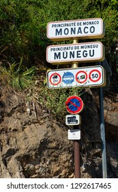 Principauté de Monaco / Principality of Monaco – 09.09.2018: State border (state frontier) between France and Monaco / Welcome sign