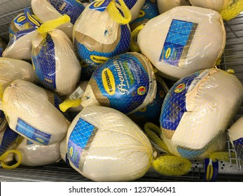 De Pere, Wisconsin/USA. November 21, 2018. A bunch of Butterball turkeys for sale the night before Thanksgiving in Wisconsin.