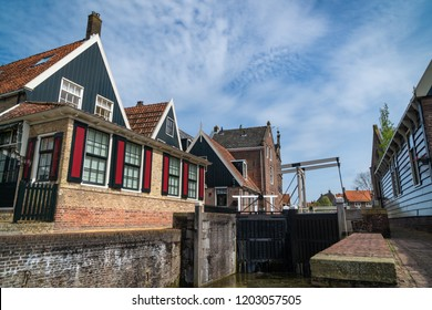 De Rijp, Middenbeemster, North Holland, Netherlands - May 1, 2018 : The bridge in De Rijp from the other side