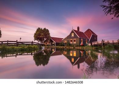 De Zaanse Schanse on blue hour long exposure.