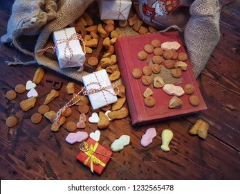 De zak van Sinterklaas (St. Nicholas' bag) filled with suikergoed, kruidnoten, letters of chocolate and gifts. All part of the traditional Dutch december holiday 'Sinterklaas'.
