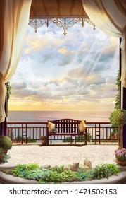 Dea view and sunrise from an open window. Digital fresco.