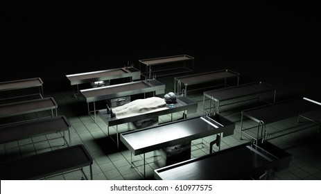 The dead alien in the morgue on the table. Futuristic autopsy concept. 3d rendering.