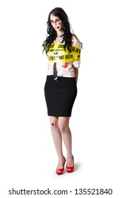 Dead blood covered woman stood with crime scene tape around body, white background