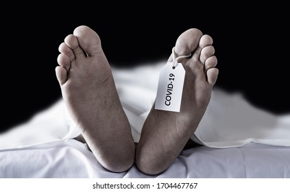 dead bodies hanging tag Covid-19. many victims of coronavirus infected person death around the world, severe epidemic that leads to enormous loss during coronavirus outbreak