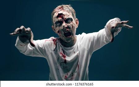 dead boy zombie. horror halloween concept
