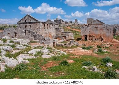 Dead cities, Al Ba-ra / Syria  - April 9, 2009 : The ancient ruins village in Dead Cities, Syria