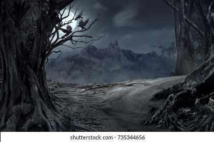 Dead cliff road on the dead mysterious forest with three crows on the night. Scary Halloween concept.