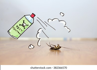Dead cockroach on floor , drawing of pest control concept
