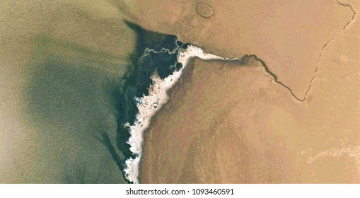 dead in the desert sand, black gold, polluted desert sand, tribute to Pollock, abstract photography of the deserts of Africa from the air, bird's eye view, abstract expressionism, contemporary art,