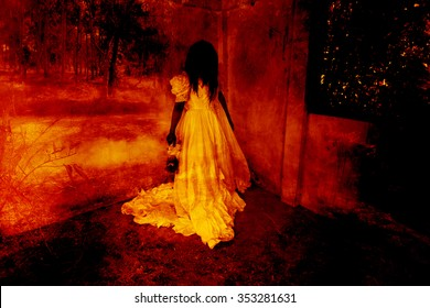 Dead Doll,Ghost in Haunted House,Mysterious Woman in White Dress Standing in Abandon Building,Horror Background For Halloween Concept and Book Cover Ideas