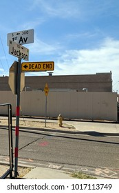 Dead End Sign in Warehouse District  at Jackson and 1st Avenue Phoenix downtown, Arizona capital city