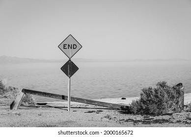 Dead end street at the Salton Sea, in Salton Sea Beach, California