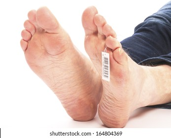 dead feet with barcode in morgue