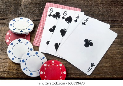 Dead man's hand , ace's and eights in the old wild west.