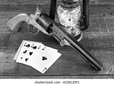Dead man's hand , ace's and eights in the old wild west in black and white.