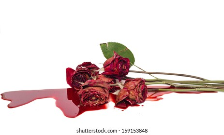 Dead red roses with spilled blood large