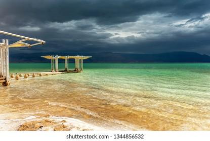 Dead sea beach on a stormy day. Israel