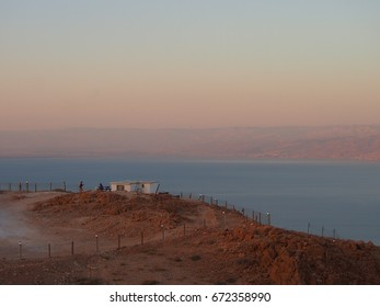 The Dead Sea between Israel and Jordan is retreating by 1.2m every year, getting more and more concentrated with salt at the same time. View from the surrounding cliff top.