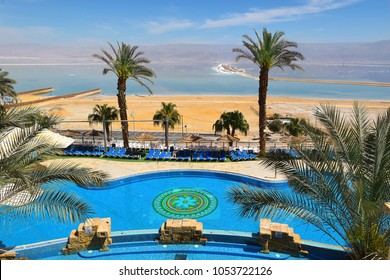 Dead Sea, Ein Bokek, Israel - March 18: view of the beach at resort village of Ein Bokek on March 18, 2018 in Ein Bokek, Dead Sea, Israel
