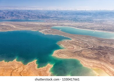 Dead Sea Israel landscape nature from above aerial view Jordan vacation holidays